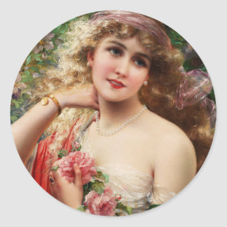 Young Lady With Roses Classic Round Sticker