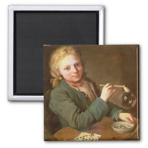 Young Man Blowing Bubbles from a Clay Pipe, 1766 Refrigerator Magnet