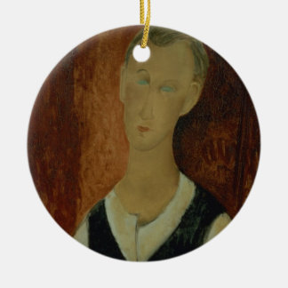 Young Man with a Black Waistcoat, 1912 (oil on can Round Ceramic Decoration