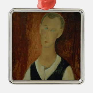 Young Man with a Black Waistcoat, 1912 (oil on can Silver-Colored Square Decoration