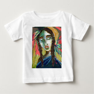 Young Native American Woman with Feathers Baby T-Shirt