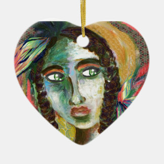 Young Native American Woman with Feathers Ceramic Heart Decoration