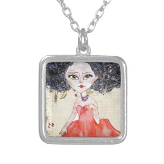 YOUNG RED ILLUSTRATION SQUARE PENDANT NECKLACE