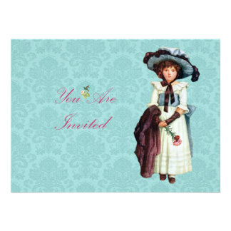 Young Victorian Girl Illustration Custom Announcements