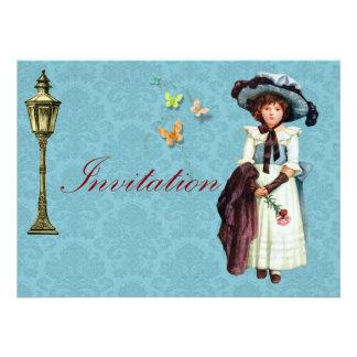 Young Victorian Girl Illustration Custom Invites