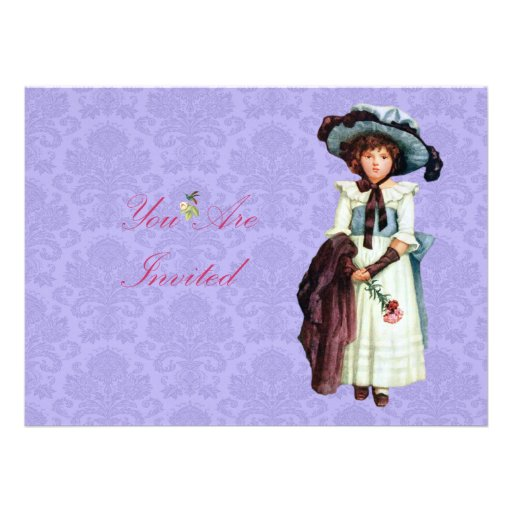Young Victorian Girl Illustration Personalized Announcement