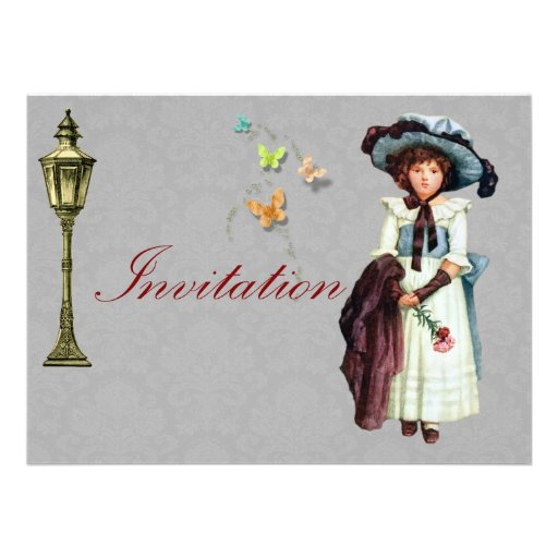 Young Victorian Girl Illustration Personalized Invite