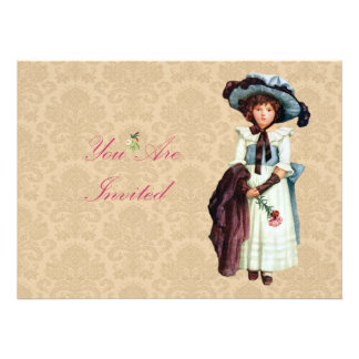 Young Victorian Girl Illustration Invite
