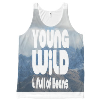 Young, Wild & Full of Beans All-Over Print Singlet
