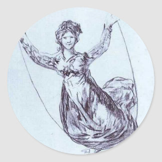 Young Witch Flying with a Rope by Francisco Goya Classic Round Sticker