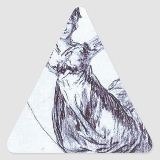 Young Witch Flying with a Rope by Francisco Goya Triangle Sticker