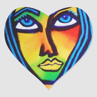 Young Woman Heart Sticker