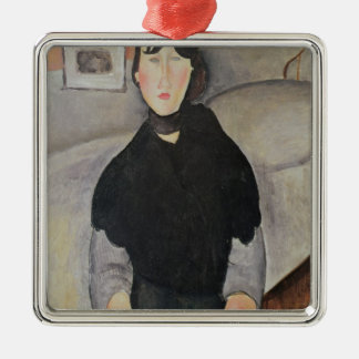 Young Woman of the People Silver-Colored Square Decoration