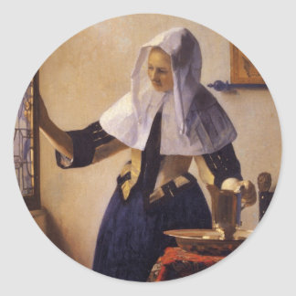 Young Woman with a Water Pitcher Classic Round Sticker