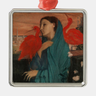 Young Woman with Ibis Christmas Ornament