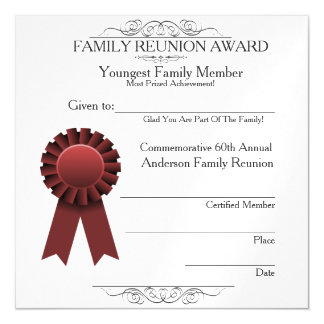 Youngest Member Elegant Family Reunion Awards Magnetic Invitations