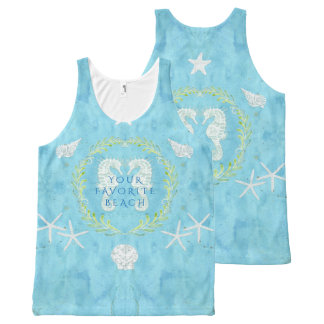 Your Beach Name Seahorse Ocean Shells Starfish All-Over Print Singlet