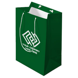Your Company Party Logo Gift Bag Medium Green