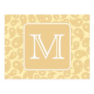 Your Letter Monogram. Tan Beige Paisley Pattern. Postcard