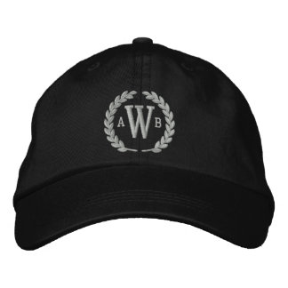 Your Monogram 3 Letters and Laurels Embroidery Embroidered Baseball Caps