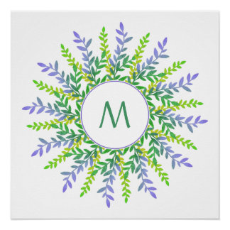 Your Monogram in Leaf Frame custom poster