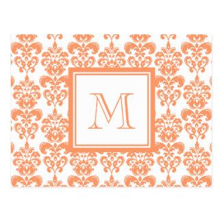 Your Monogram, Orange Damask Pattern 2    Product Postcard