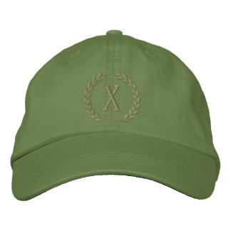 Your Monogram Single Cap Letter Laurels Embroidery Embroidered Hat