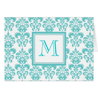 Your Monogram, Teal Damask Pattern 2 Card