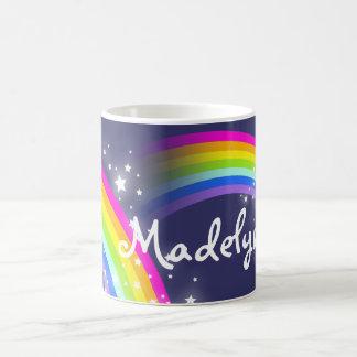 Your name kids rainbow navy mug