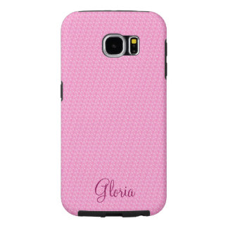 Your Name on Pink and White Pattern Samsung Galaxy S6 Cases