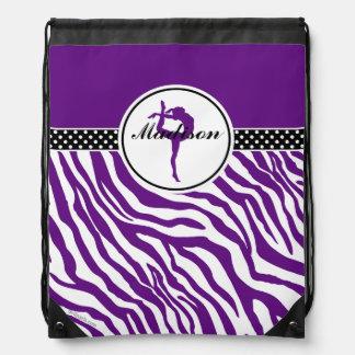 Your Name Zebra Print Gymnastics in Purple Drawstring Bag