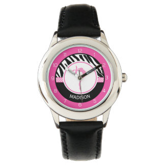 Your Name Zebra Print Gymnastics with Pink Details Watch