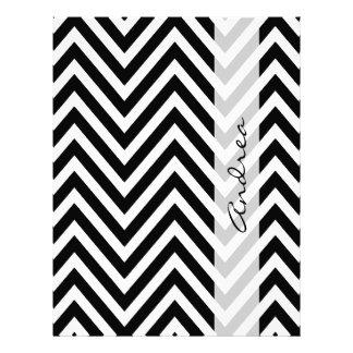 Your Name - Zigzag Pattern, Chevron - White Black 21.5 Cm X 28 Cm Flyer