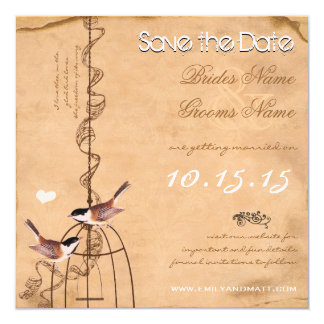 Your Photo Damask Bird Cage Wedding Save the Date 13 Cm X 13 Cm Square Invitation Card