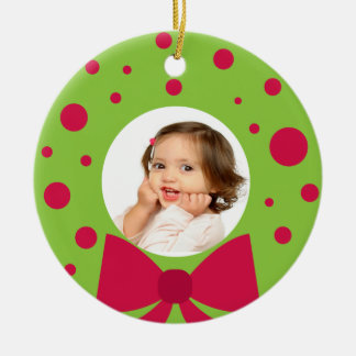 Your Photo Green Wreath Frame Christmas Ornament
