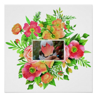 Your Photo in a Flower Frame custom poster