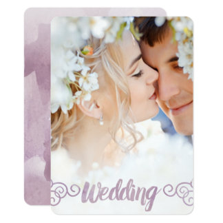 Your Photo Lavender Watercolor Wedding Card