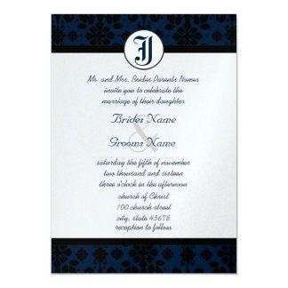 Your Photo Navy & Black Damask Wedding Invites
