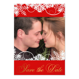 Your Photo Red & Gold Winter Snow Save the Dates 13 Cm X 18 Cm Invitation Card