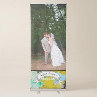 Your Photo Wedding Abstract Watercolor Design Retractable Banner