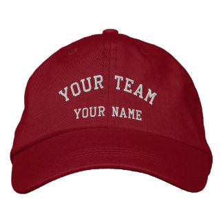 Your Team Embroidered Red/White Cap Template Embroidered Hat