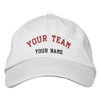 Your Team Embroidered White/Red Cap Template Embroidered Cap