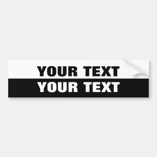 """Your Text """"Folio Extra Bold"""" Black and White Bumper Sticker"""