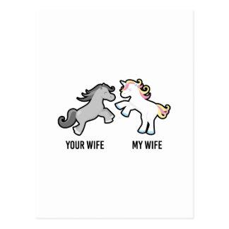 Your Wife My Wife Unicorn Postcard