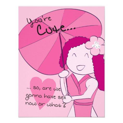 You're Cute (Sakura) - Pack of Valentines Invitations