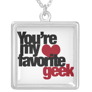 Youre my favourite nerd silver plated necklace