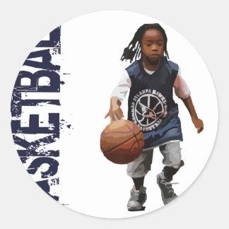 Youth Basketball Classic Round Sticker