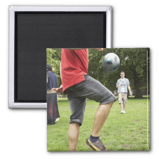 youth, young, friends, park, bbq, grass, trees, square magnet