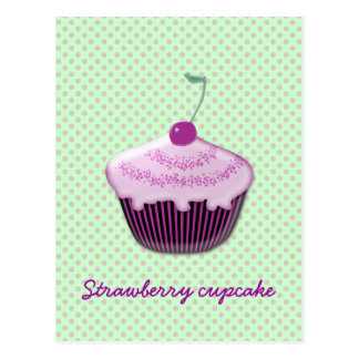 yummy strawberry cupcake postcard
