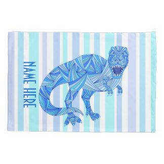 Z T-Rex Dinosaur Colorful Prehistoric Stripes Pillowcase